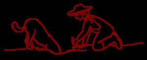 Kati Koivulan piirtämä puutarhuri ja koira perustustöissä.