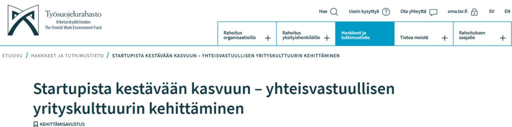 Työsuojelurahaston rahoittama hanke startup-yritys Dagsmark Petfood Oy:ssä